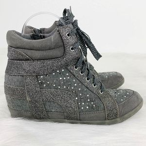 Justice Gray Gemmed High Top Wedge Shoes Girl's 7
